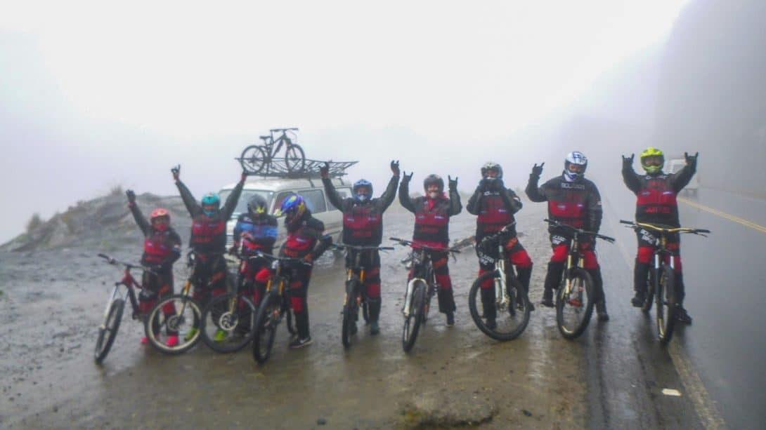 A Group Of Cyclists Prepares To Start Their Ride on the Road of Death Bolivia.