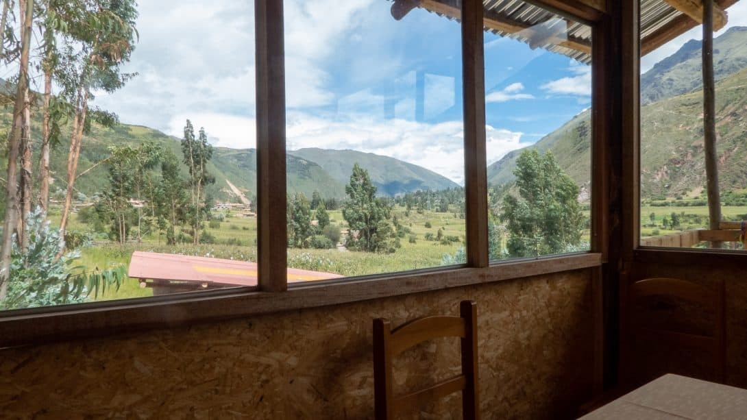 View through window during the lunch break on a Palccoyo Mountain tour