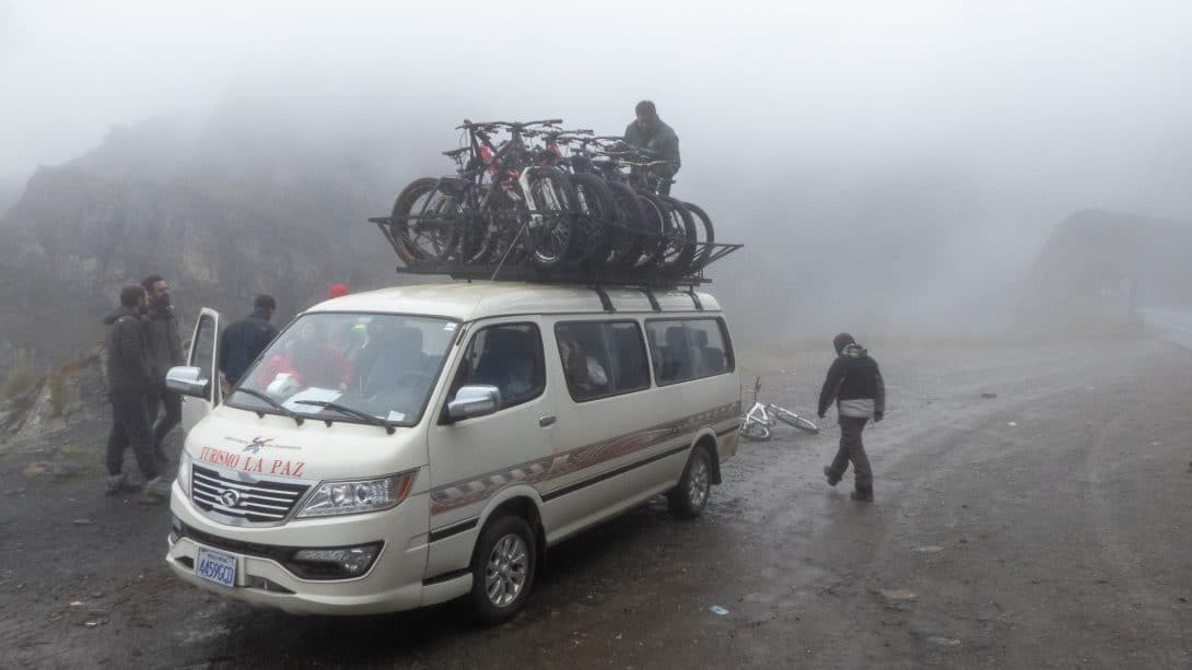 A Van Carrying Lots of Bikes to Yungas Road Bolivia.