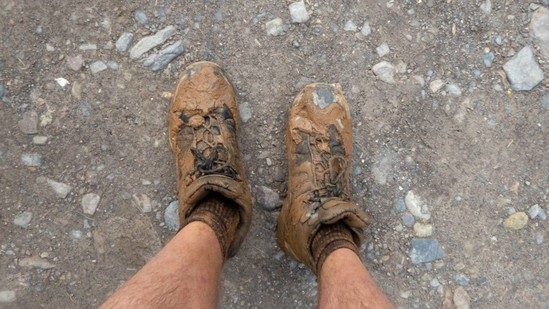 Muddy boots on Death Road