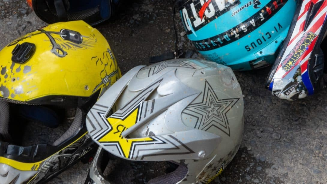 Bike helmets used for cycling on Death Road Bolivia