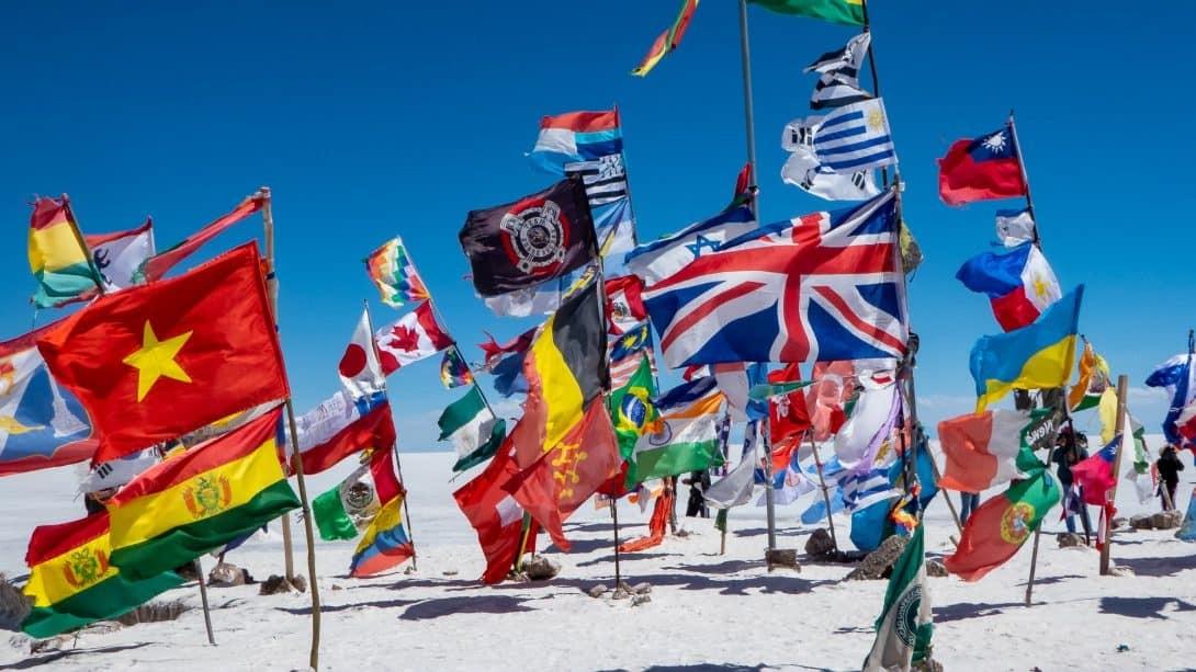 Flags at Salar de Uyuni