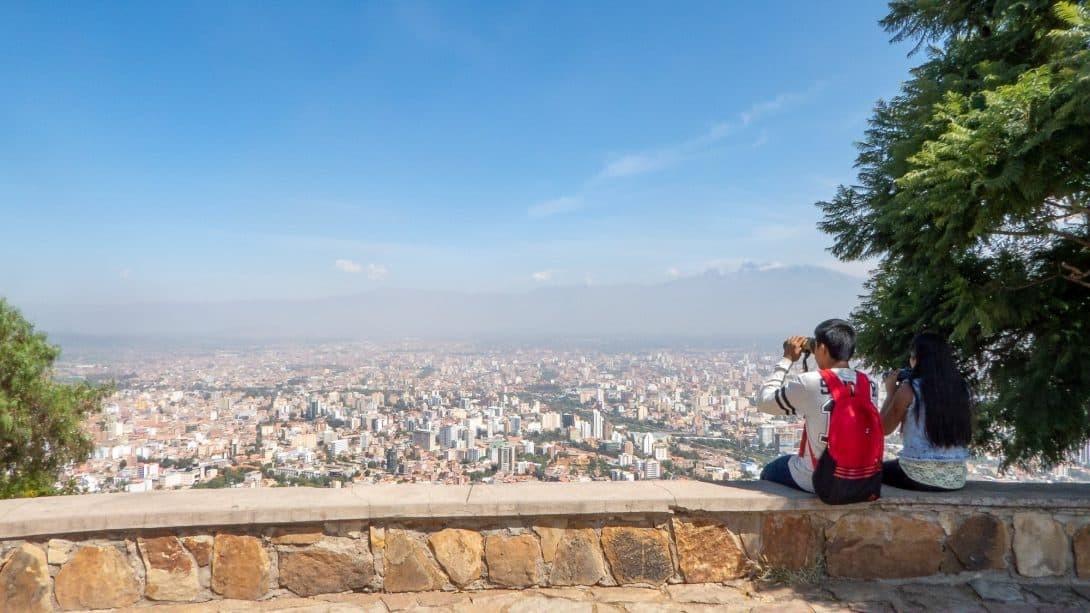 Birdwatchers overlooking Cochabamba