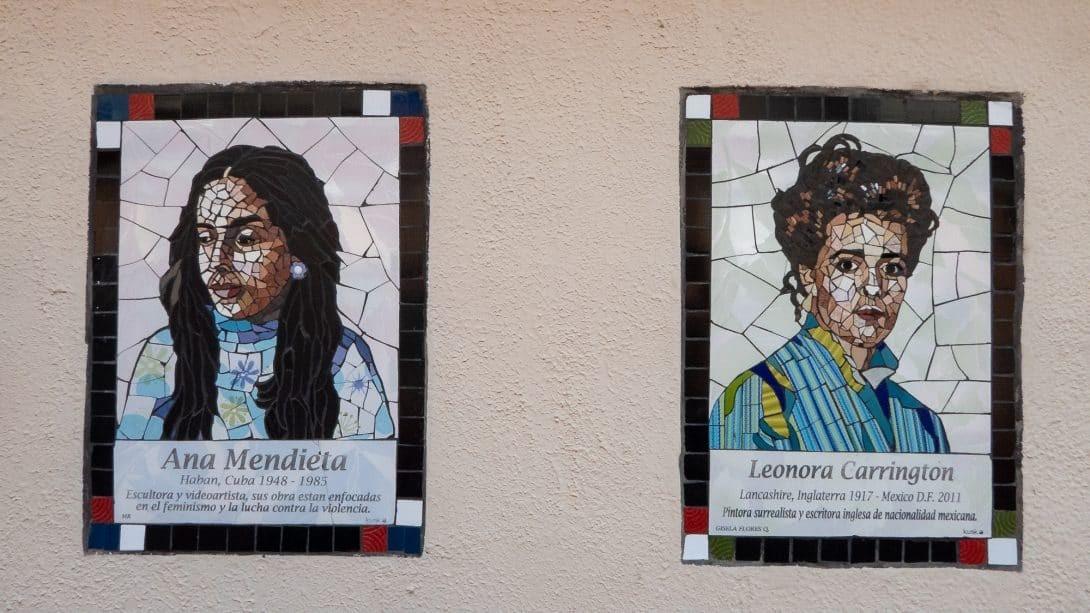 Mosaic artwork of notable women in Cochabamba