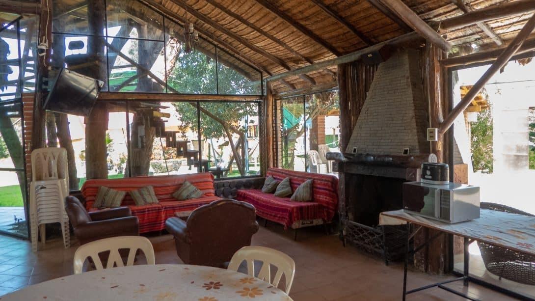 Communal lounge at Cabañas Las Lilas