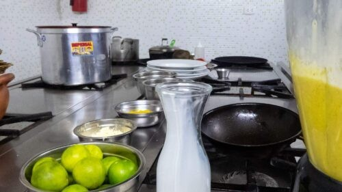 A Spread of Ingredients and Equipment at Cusco Culinary Cooking School