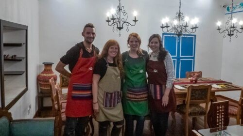 A Group of Students on the Cooking Class with Cusco Culinary