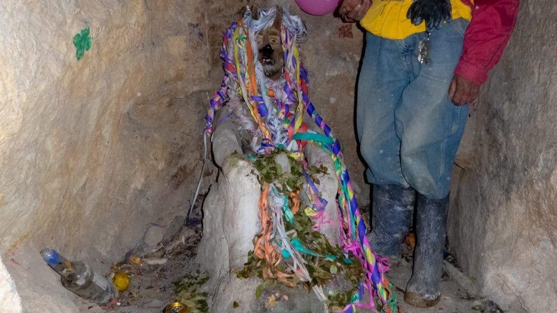 Tio statue in Potosi mines