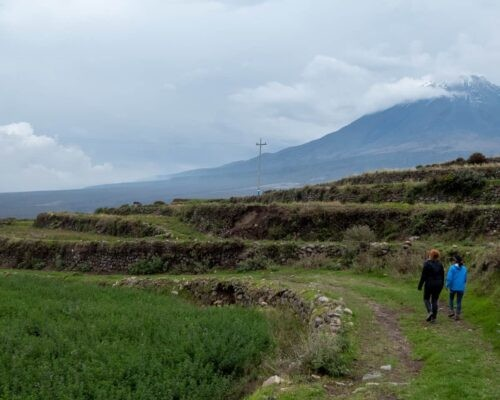 Couple trekking close to terraces