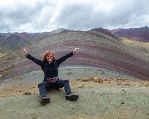 Girl enjoys no crowds at Rainbow Mountain