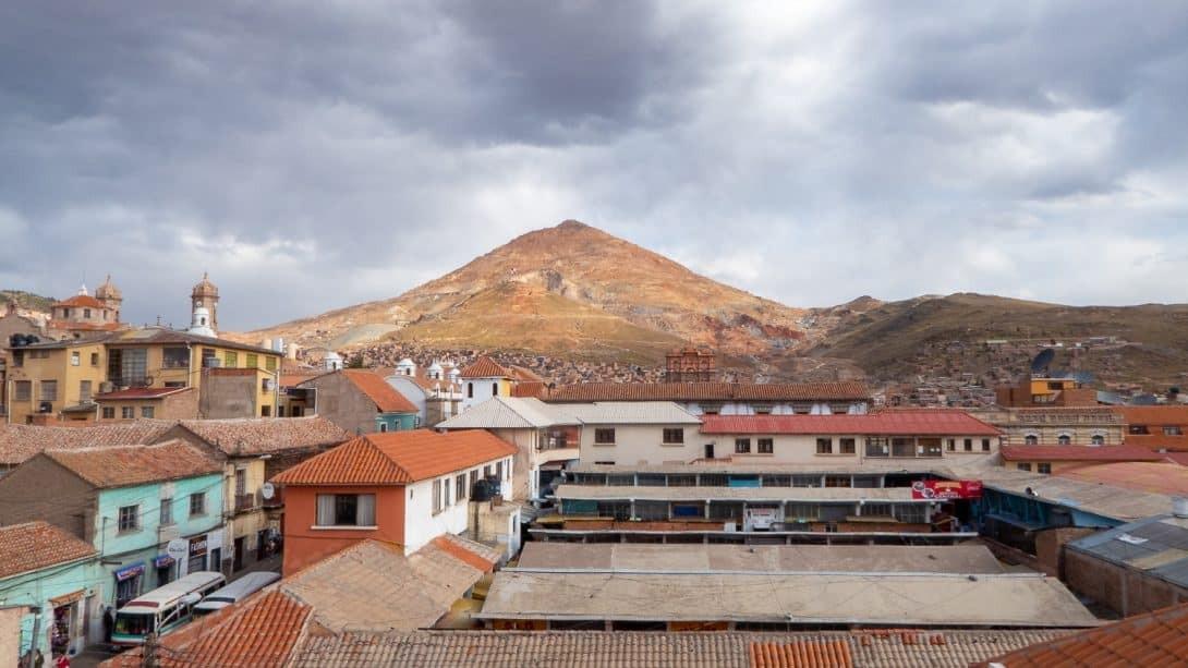 Cerro Rico over Potosi city