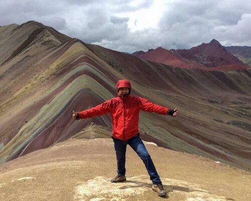 Guide in front of Vinicunca Rainbow Mountain
