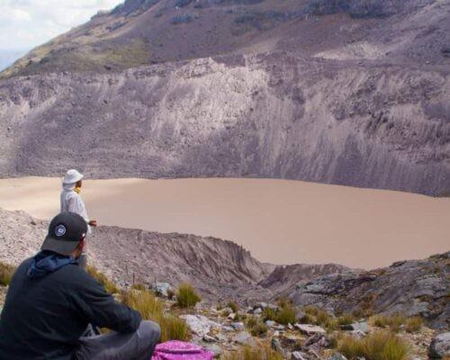 Man looks at lagoon