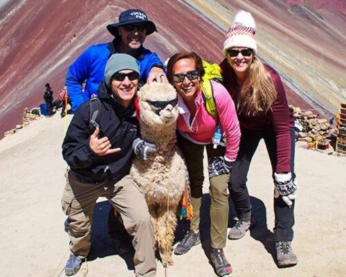 Group pose with alpaca