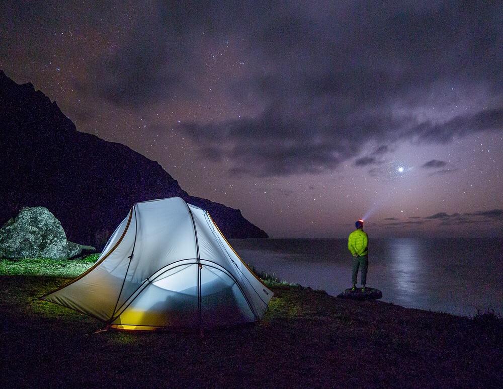 Person wild camps