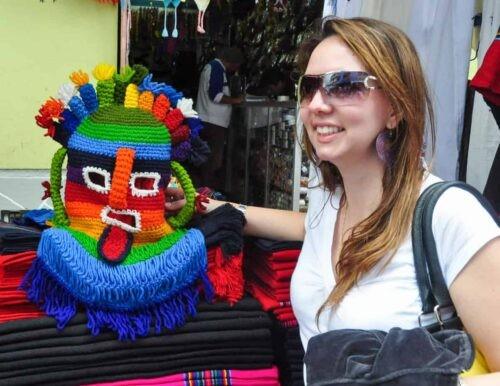 Girl with handmade mask