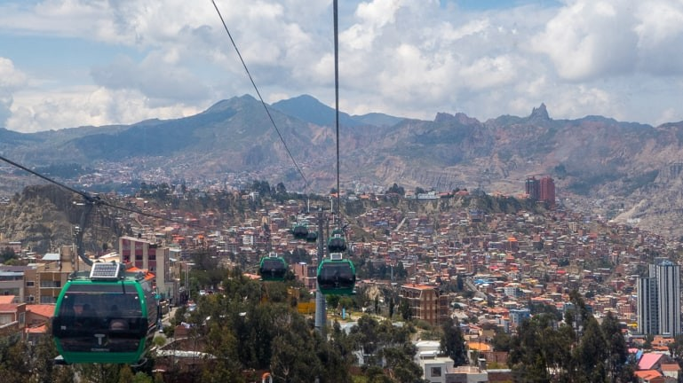 La Paz views from cable car.