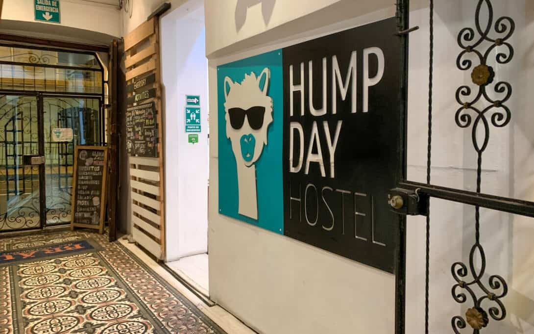 Hump Day Hostel sign, Quito.