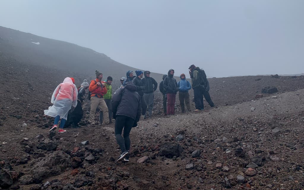 People begin the hike up Cotopaxi Volcano.