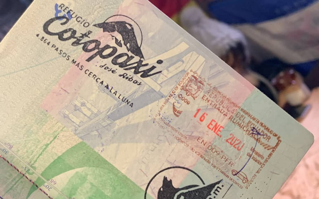 Cotopaxi stamp in passport.