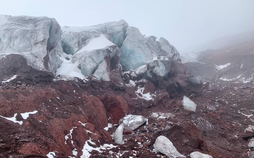 The Cotopaxi glacier comes into sight.
