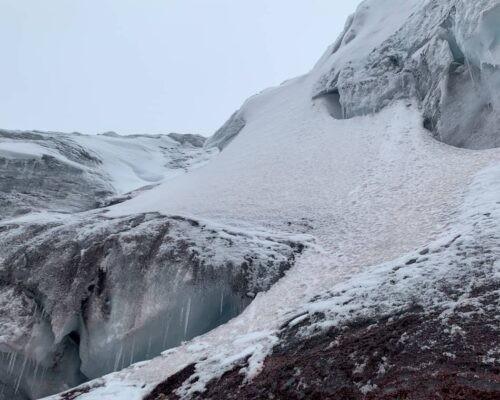 Snow on Cotopaxi volcano