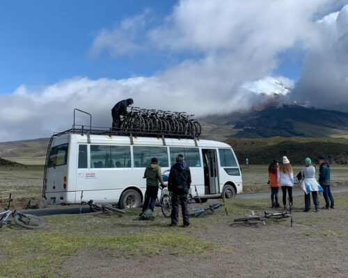 Minibus with bikes for Cotopaxi tour