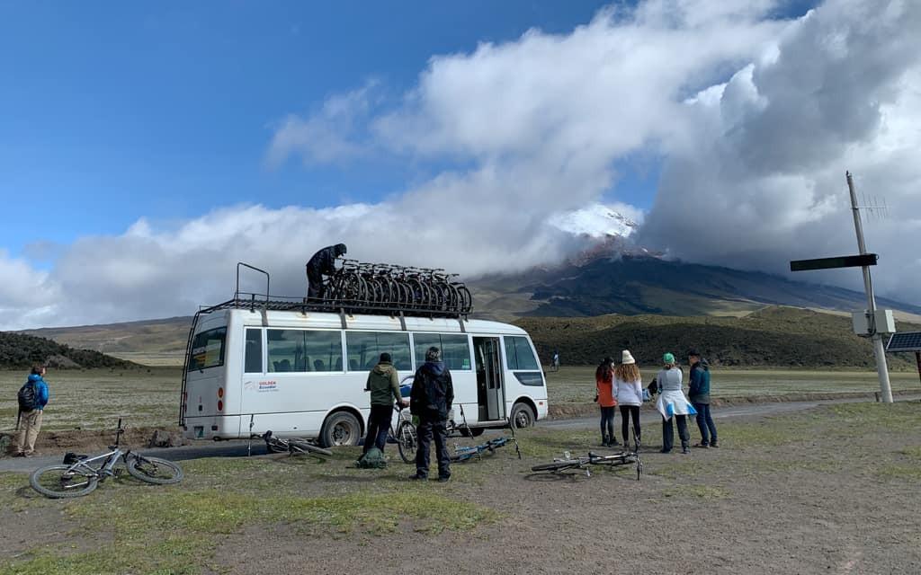 Bikes on top of minibus near Cotopaxi Volcano.