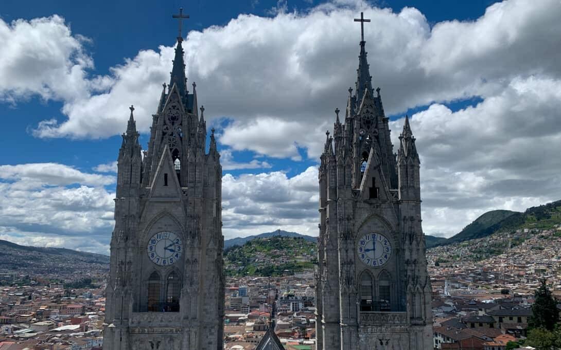 Views of Quito from Basilica del Voto Nacional.