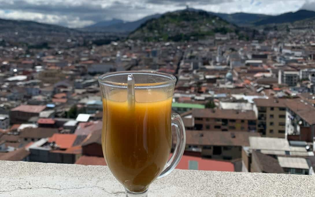 Drink stands overlooking Quito.