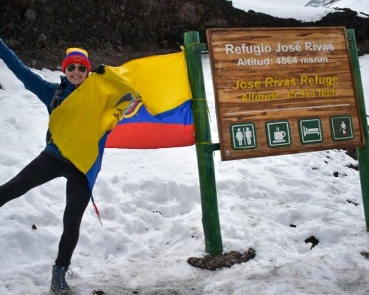 Person poses on Cotopaxi