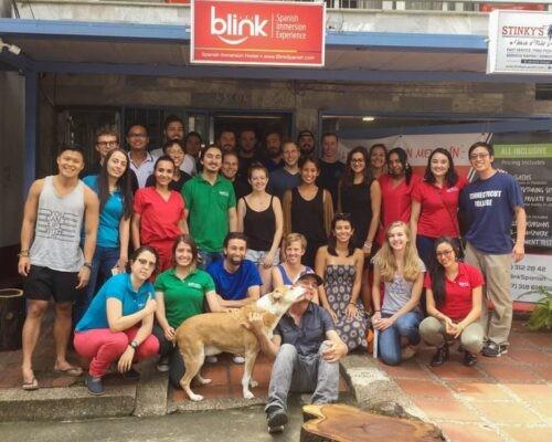 Blink students outside centre