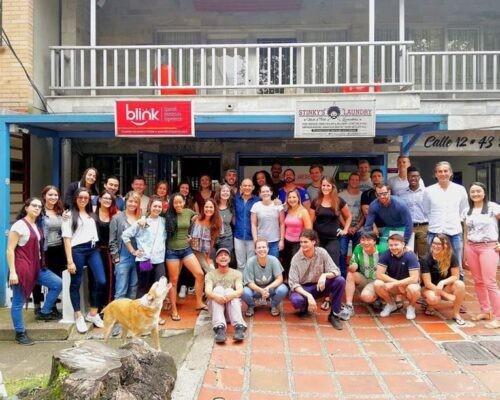 Students outside Blink Spanish School