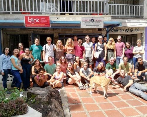 Big group of students outside Blink Spanish School