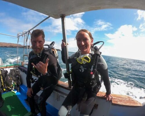 Divers in Galapagos