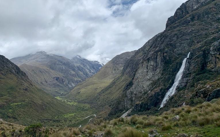 Waterfalls running down from cliffs