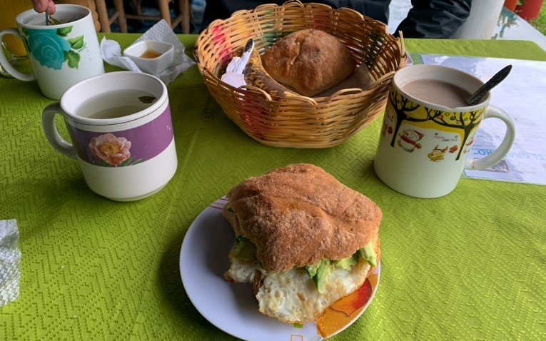 Lunch of rolls and tea