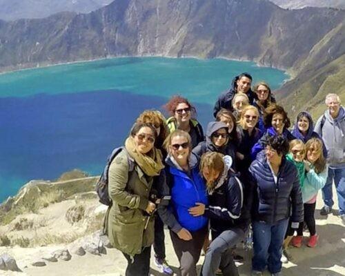 Tour group at Quilotoa Lake