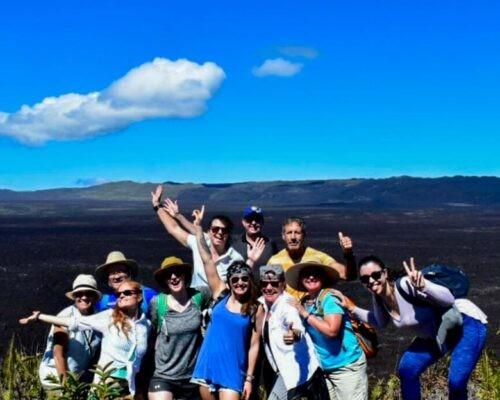 Tour group at Sierra Negra Volcano