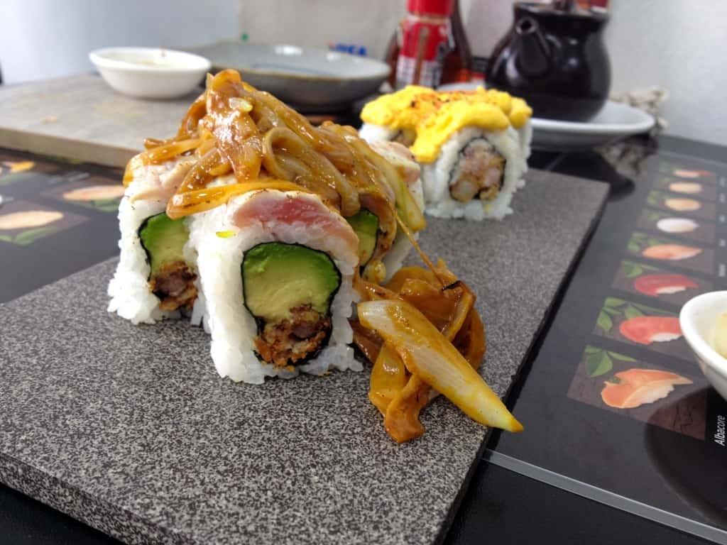 Lomo Saltado and Papas a la Huancaina sushi fusion!