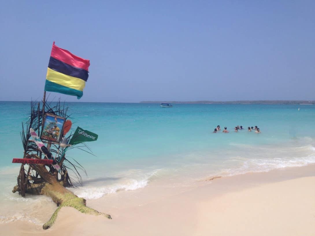 Colombian flag on beach
