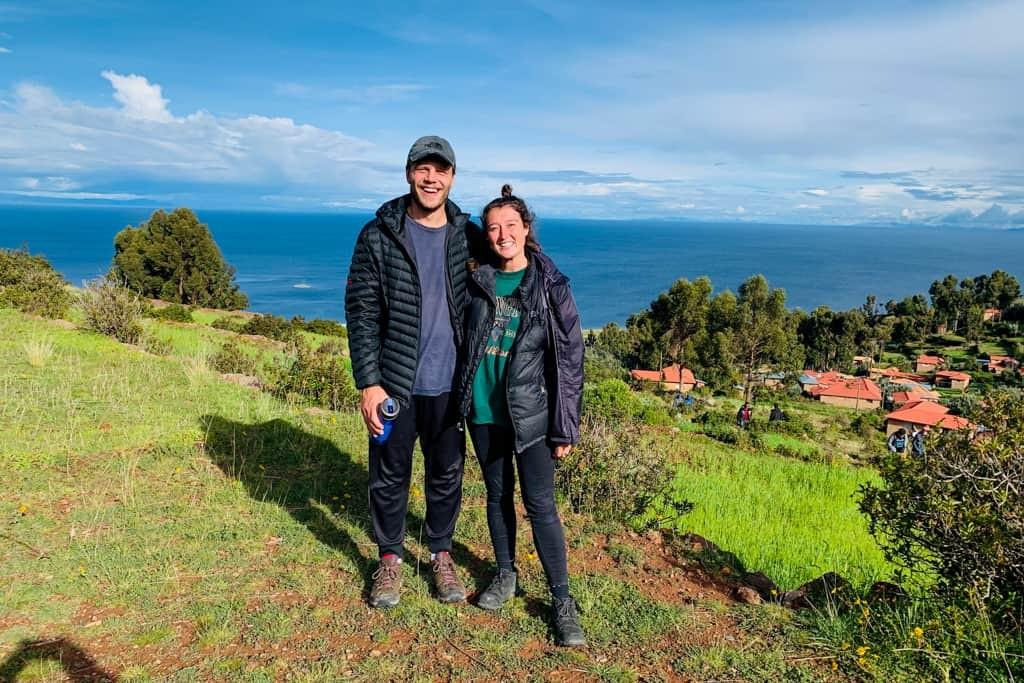 Couple smiling on Peruvian island