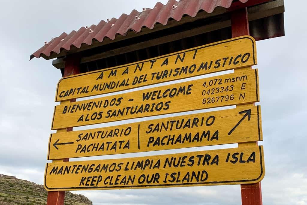 Amantani Island sign