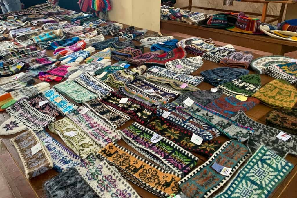 Knitted goods for sale on Taquile Island.