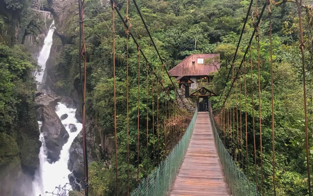 Suspension bridge in Banos, Ecuador