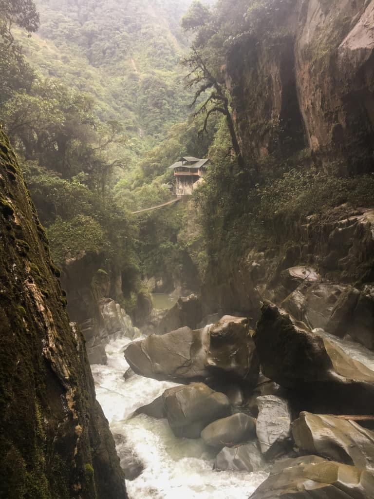 Up close shot of waterfall
