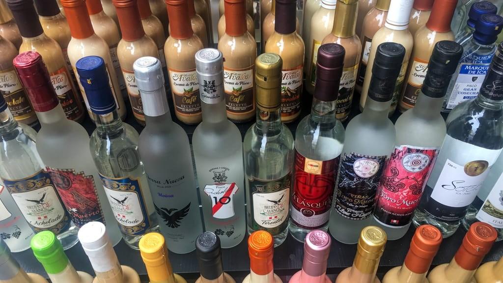 Bottles of pisco