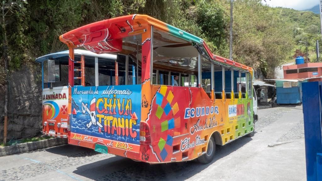 Chiva bus in Banos, Ecuador