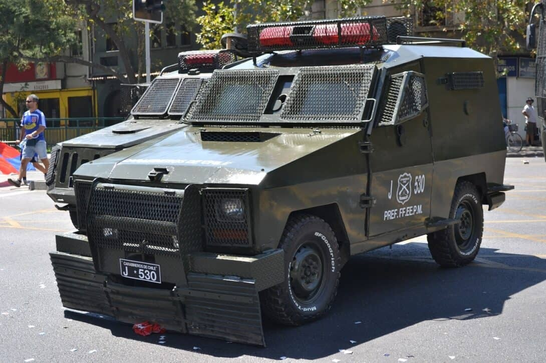 Military vehicle in city