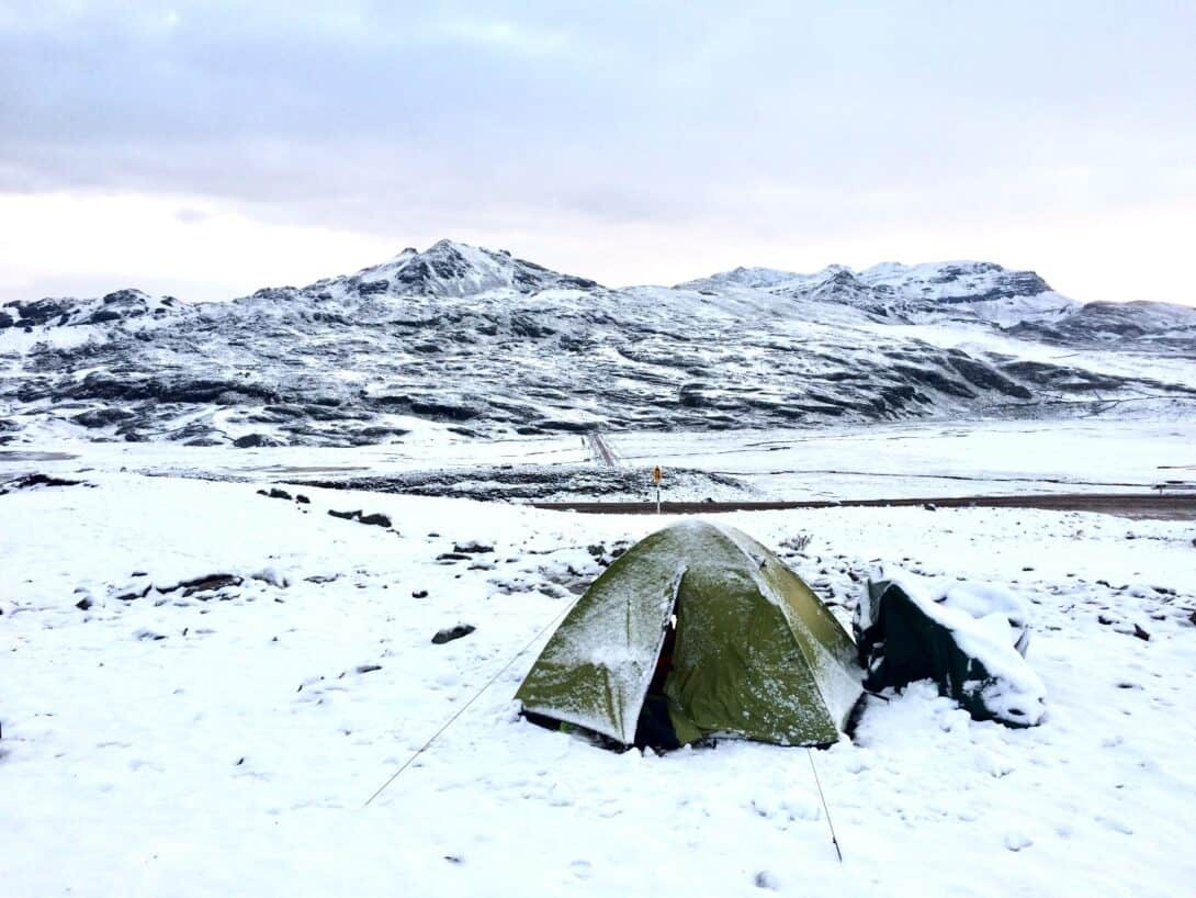 Camping in the snowy Andes